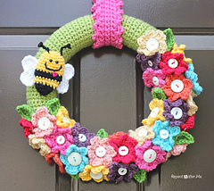 Crochet Wreaths-Crochet Spring Wreath