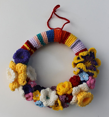 Crochet Wreaths-Crocheted Spring Wreath