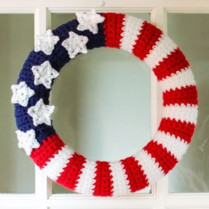 American Flag Wreath-crochet patterns for 4th July