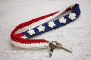 Star & Stripes Lanyard-crochet patterns for 4th July