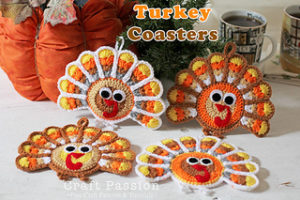 Turkey Coasters & Ornaments-Crochet Turkey Patterns
