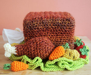 Turkey Tissue Box Cozy with Roasted Veggies-Crochet Turkey Patterns