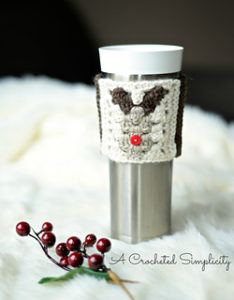 Free Easy Crochet Patterns for Christmas Themed Cup Cozy
