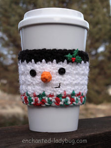 Free Easy Crochet Patterns for Christmas Themed Cup and Mug Cozies.