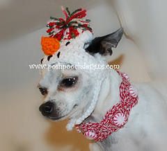 Crochet Peppermint Christmas Dog Collar