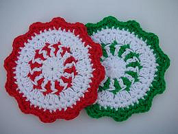 Crochet Peppermint Christmas Coaster