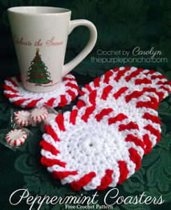 Crochet Peppermint Christmas Coasters