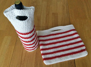 Crochet Peppermint Christmas Handbag Wine