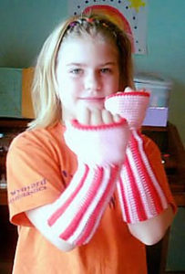 Crochet Peppermint Christmas Fingerless Gloves