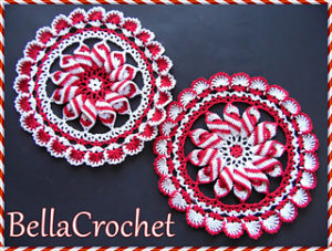 Crochet Peppermint Christmas Doily
