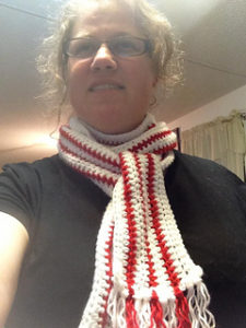 Crochet Peppermint Christmas Scarf