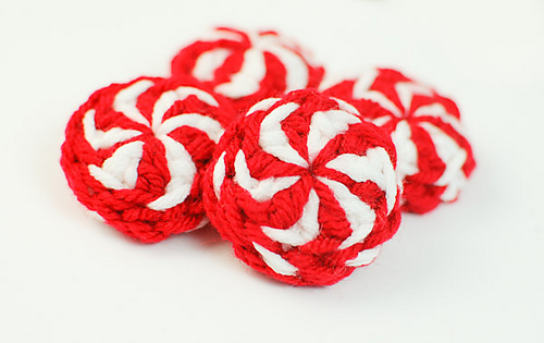 Crochet Peppermint Christmas Ornaments