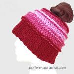 Messy Bun Hat Free Crochet Patterns