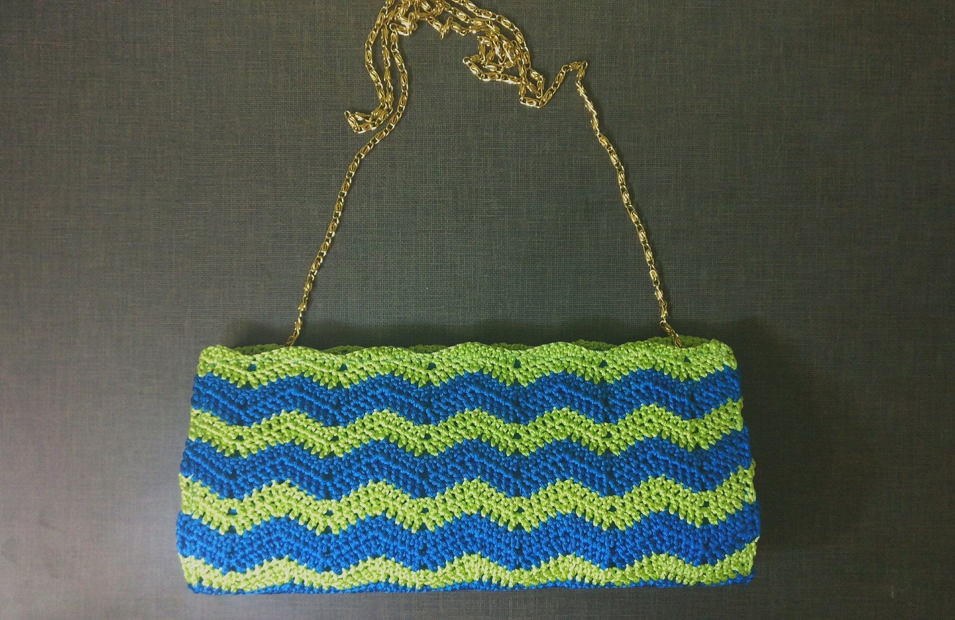 Cool Blue Crochet Clutch