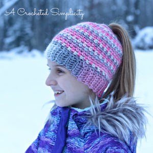77 Free Crochet Patterns for Messy Bun Hat to Make Your Winter Colourful fc2fcdb0d87