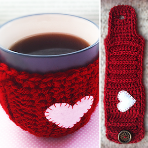 Free Easy Crochet Patterns for Valentine's Day Mug Cozy