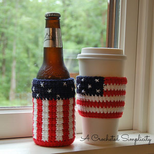 Free Crochet Patterns For American Flag Can Cozy, Mug Cozy, Bottle Cozy, Jar Cozy