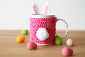 Free Crochet Patterns for Bunny Easter Mug Cozy/ Cup Cozy/ Bottle Cozy