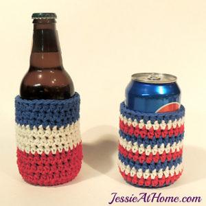 Free Crochet Patterns For American Flag Can Cozy, Mug Cozy, Bottle Cozy, Jar Cozy