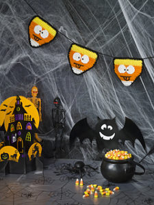 Free Crochet Patterns for a Halloween Banner in Candy Corn Style