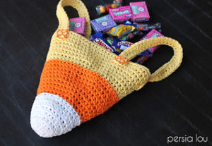 Free Crochet Patterns for Candy Corn Halloween Trick or Treat Bags