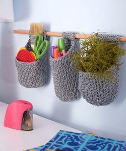 Free Crochet Patterns for Crochet Hanging Basket usingOther types of Yarn