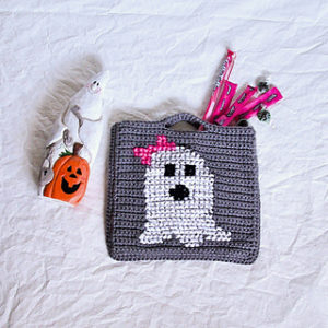 Free Crochet Patterns for Ghost Halloween Trick or Treat Bags