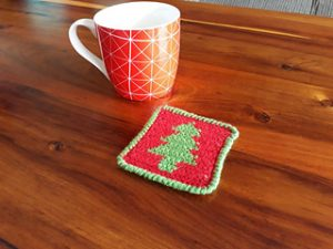 Free Crochet Patterns for Christmas Tree Christmas Coasters