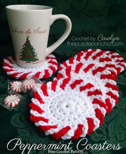 Free Crochet Patterns for Peppermint Christmas Coasters