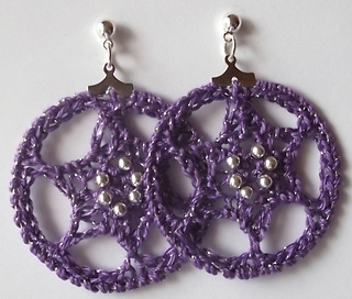 Six Pointed Star Crocheted Hoop Earrings By Angela Saylor Made Using Thread And A1 95mm Crochet Hook