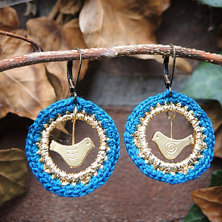 Earrings Tweet By Moois Van Me Are Cute Ones Made Using A Lovely Yarn Weight Not Mentioned And 3 00mm Crochet Hook 25mm