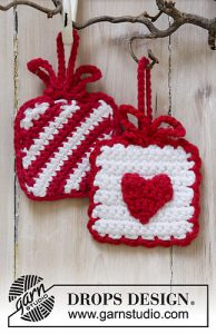 Free Easy Crochet Patterns for Christmas Present Ornaments