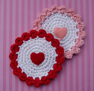 Free Crochet Patterns for Heart Coasters for Valentine's Day