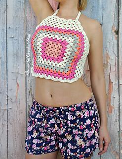 Crochet Crop Top Halter Neck Style Free Crochet Patterns in Multi-Colour