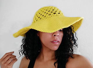 yellow beach hat Crochet women sun hat